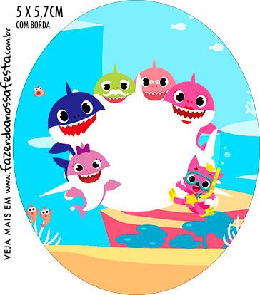 Rotulo Oval Kit Festa Baby Shark Rosa