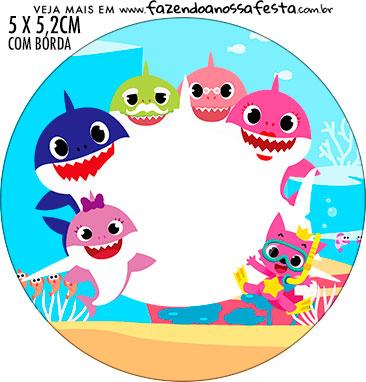 Rotulo Redondo Kit Festa Baby Shark Rosa