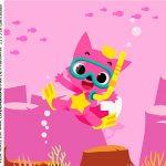 Rotulo para Caixa de Acrilico Kit Festa Baby Shark Rosa