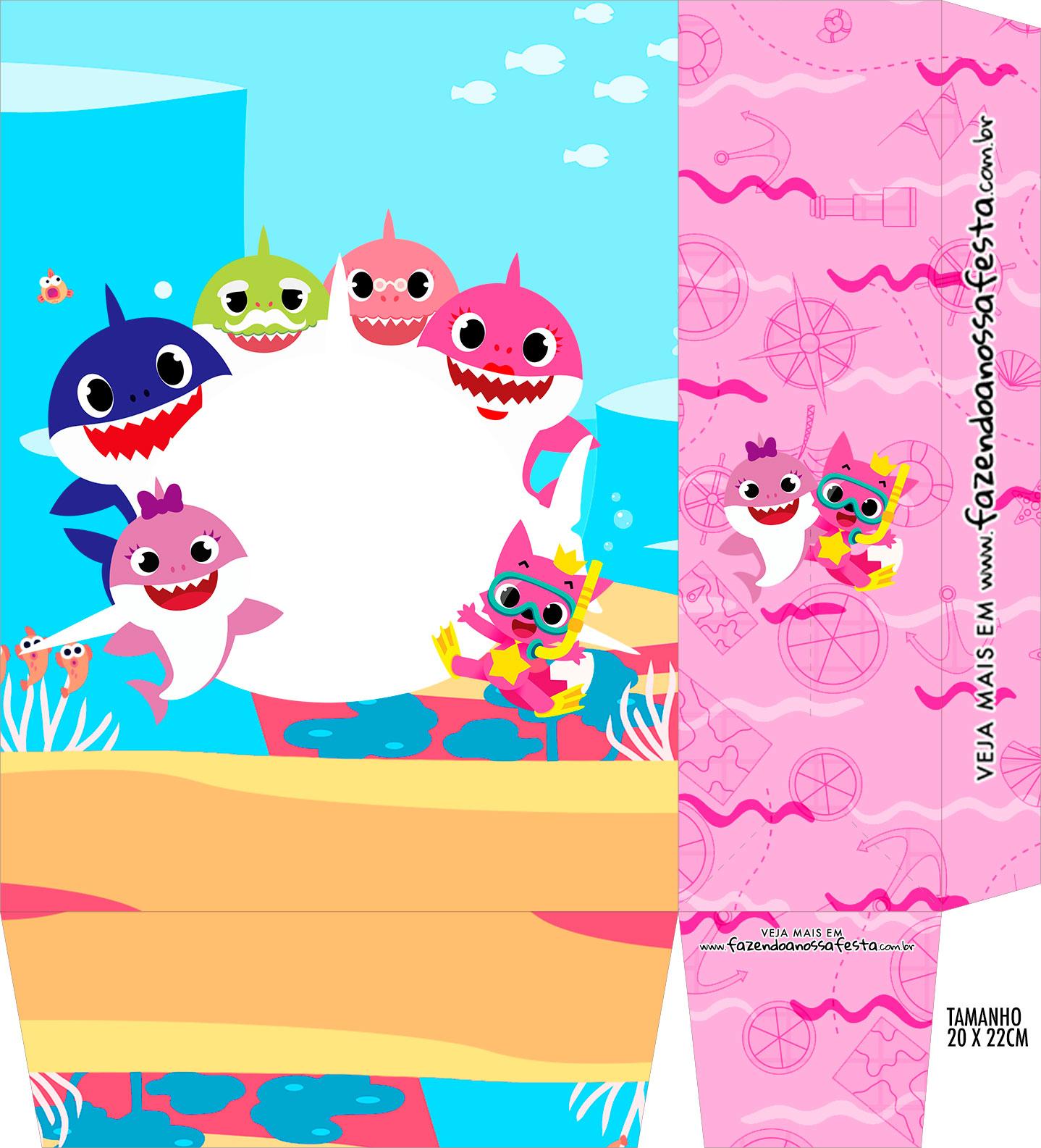 Sacolinha Supresa Festa Kit Festa Baby Shark Rosa