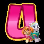 U com personagem Alfabeto Patrulha Canina Rosa