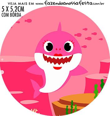 adesivo mini baleiro Festa Baby Shark Rosa