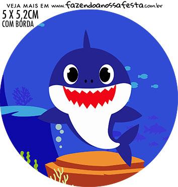 adesivo mini latinha Festa Baby Shark Rosa