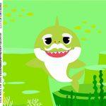 caixa de acrilico adesivo personalizado Festa Baby Shark Rosa