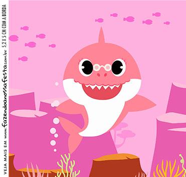 rotulo adesivo caixa de acrilico Kit Festa Baby Shark Rosa