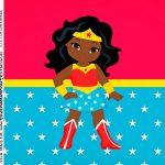 Adesivo Caixa Acrilica Festa Mulher Maravilha Afro Cute