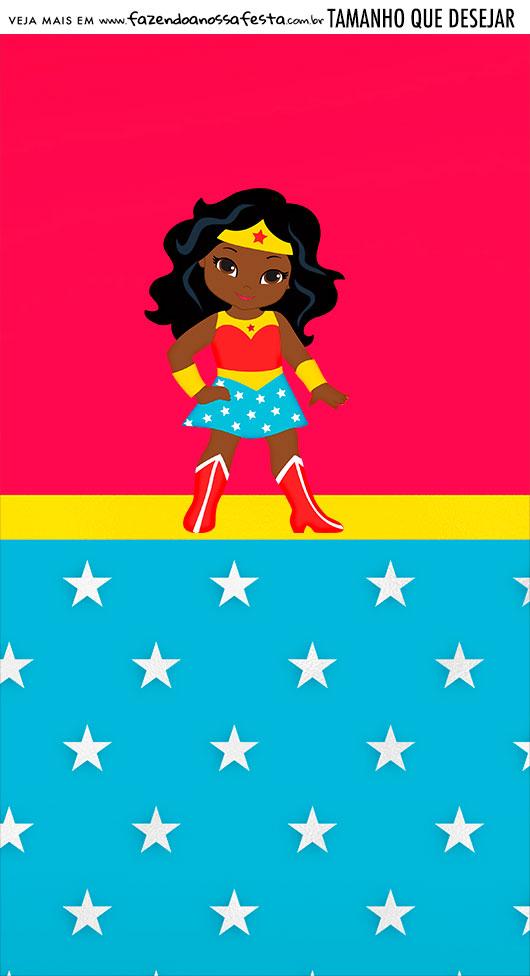 Adesivo Para Imprimir Festa Mulher Maravilha Afro Cute