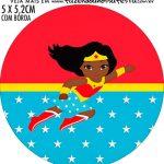 Adesivo para garrafinha Festa Mulher Maravilha Afro Cute