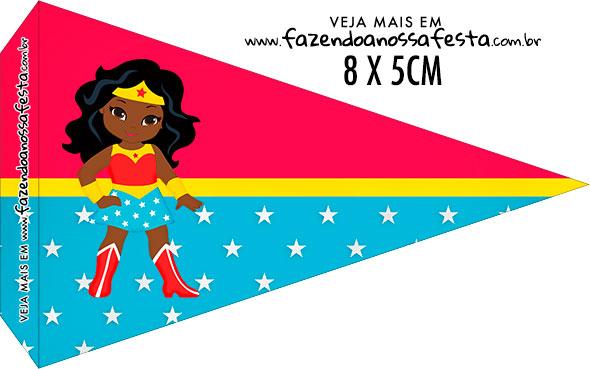 Bandeirinha Sanduiche para imprimir Festa Mulher Maravilha Afro Cute