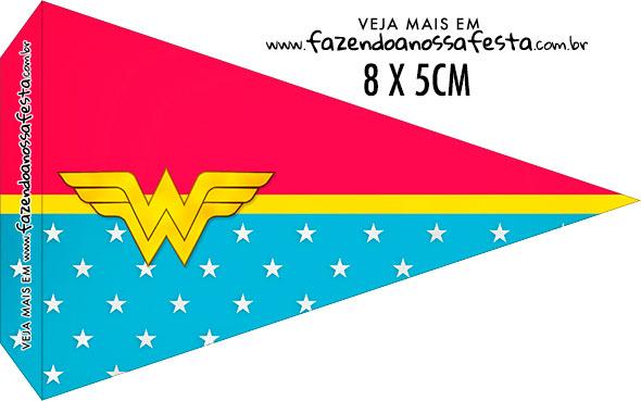 Bandeirinha Sanduiche personalizado Festa Mulher Maravilha Afro Cute