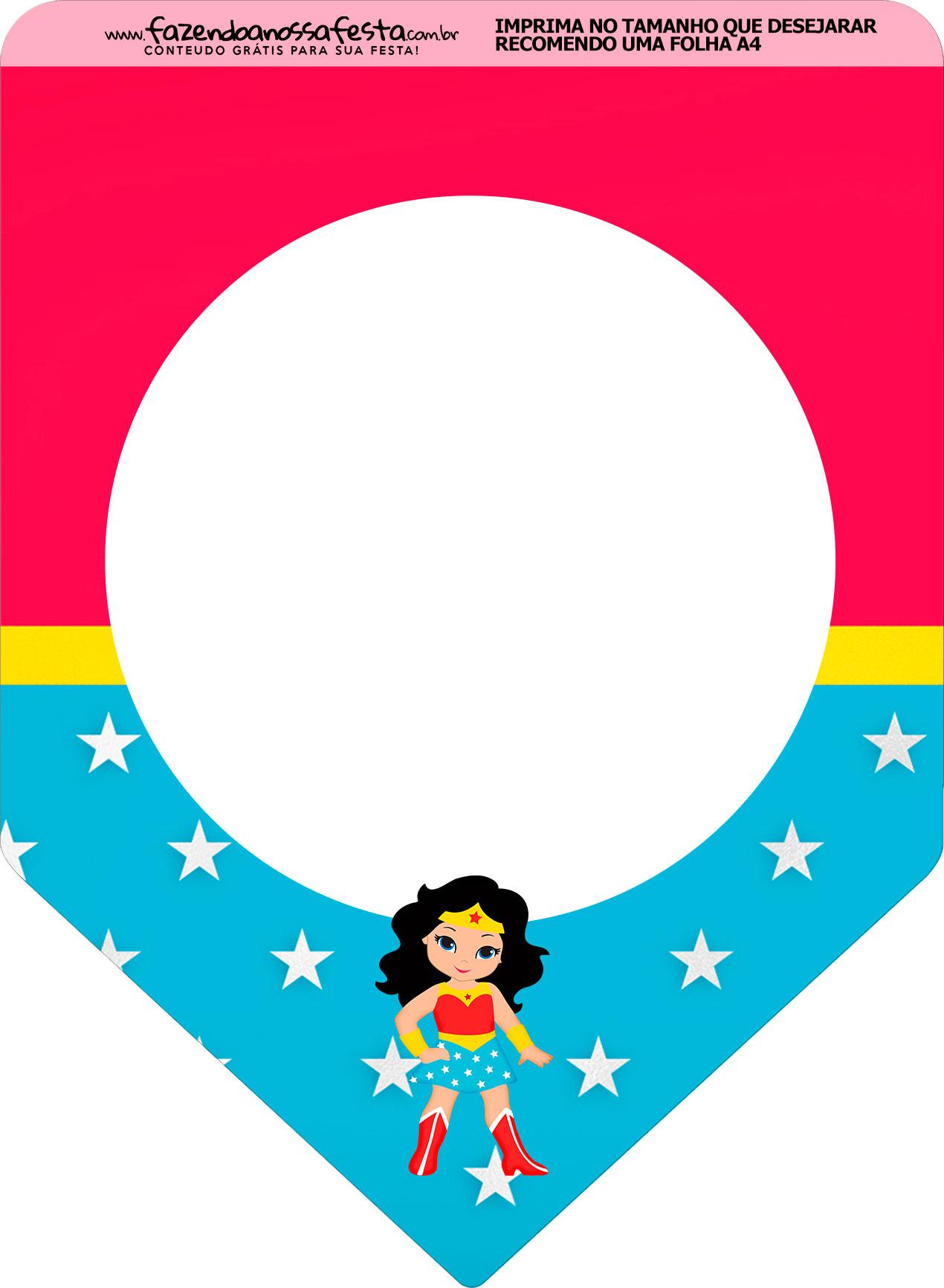 Bandeirinha Varalzinho Festa Mulher Maravilha cute