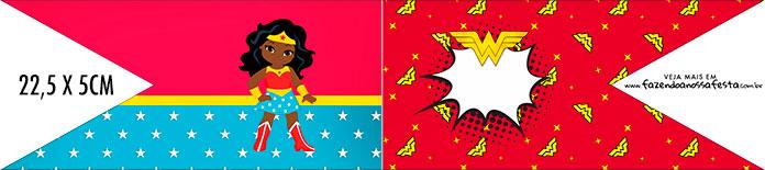 Bandeirinha de Dois Lados Festa Mulher Maravilha Afro Cute