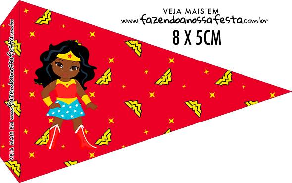 Bandeirinha para sanduiche Festa Mulher Maravilha Afro Cute