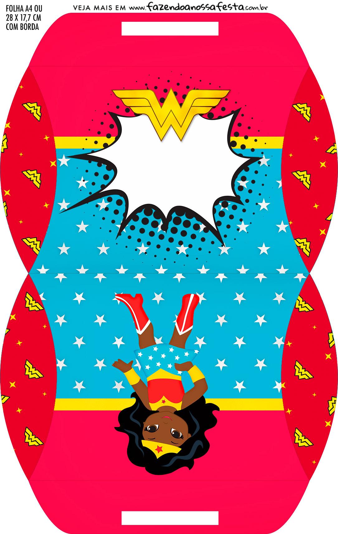 Caixa Almofada bolsinha Festa Mulher Maravilha Afro Cute