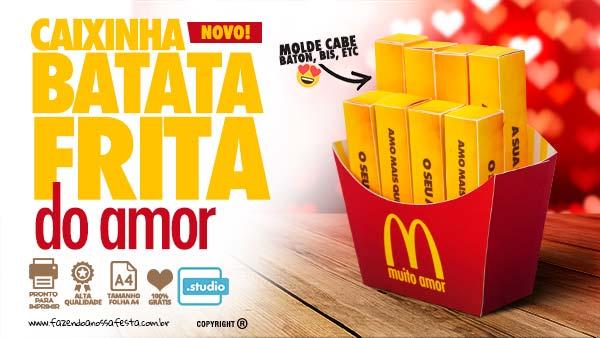 Caixa Batata Frita Dia dos Namorados