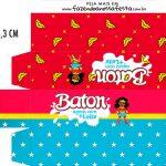 Caixa Baton Festa Mulher Maravilha Afro Cute