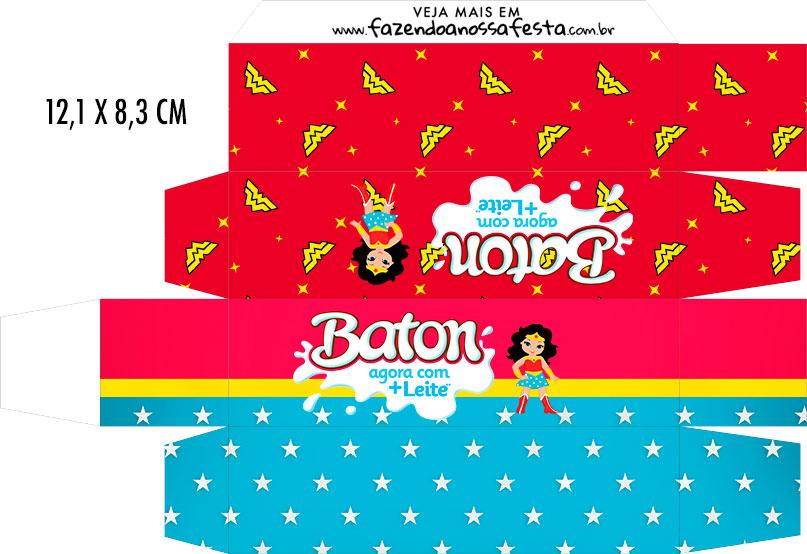 Caixa Baton Festa Mulher Maravilha cute