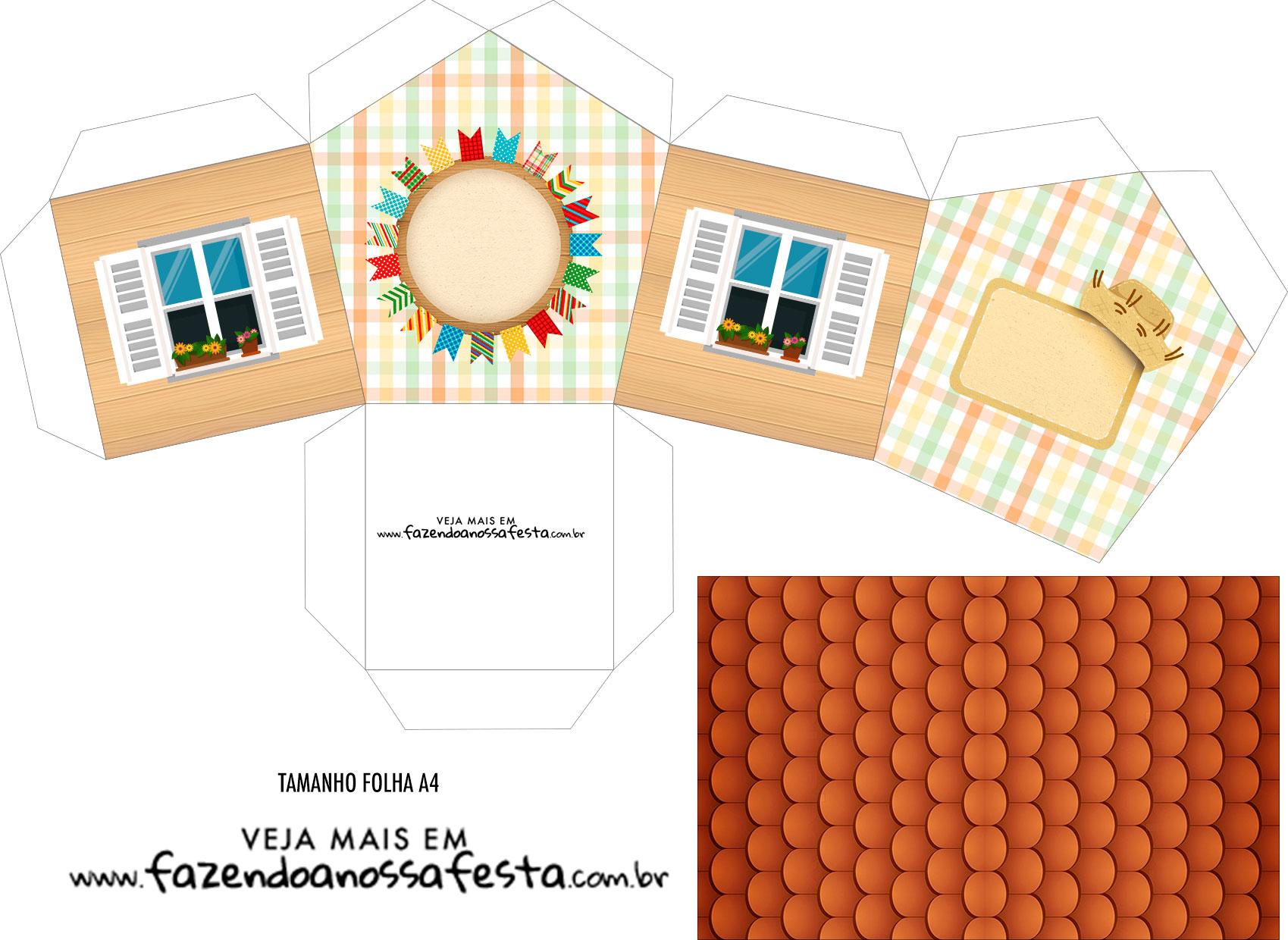 Caixa Casinha Kit Festa Junina Tons Pasteis