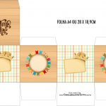 Caixa Cubo Kit Festa Junina Tons Pasteis