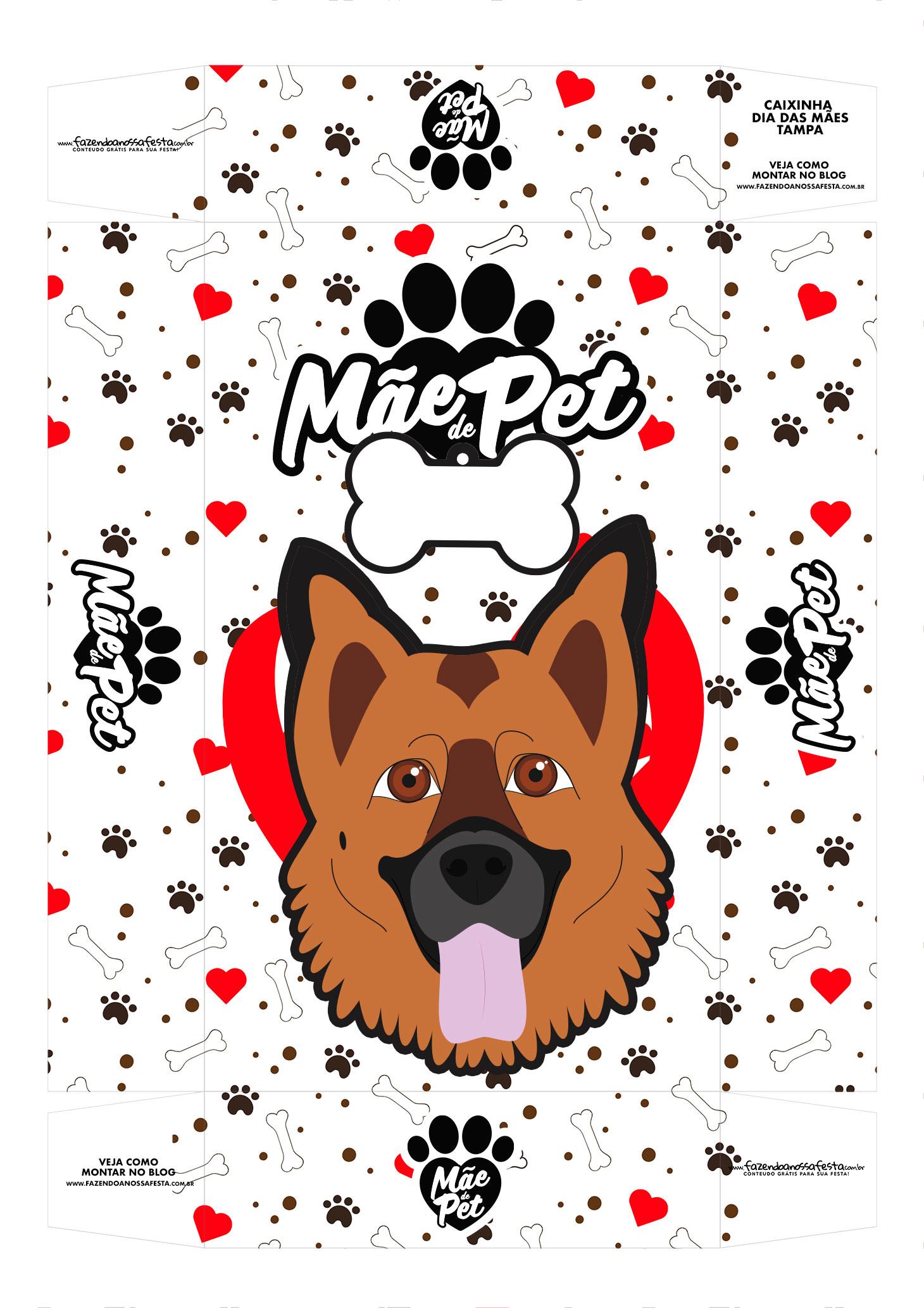 Caixa Mae de Pet pastor alemao