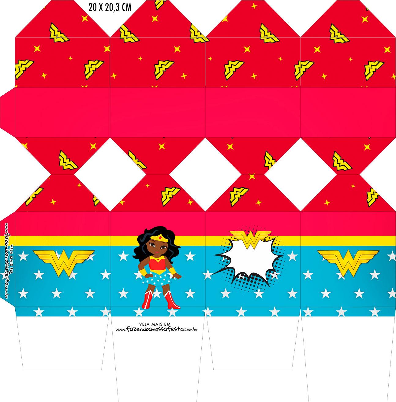 Caixa Meia Bala Festa Mulher Maravilha Afro Cute