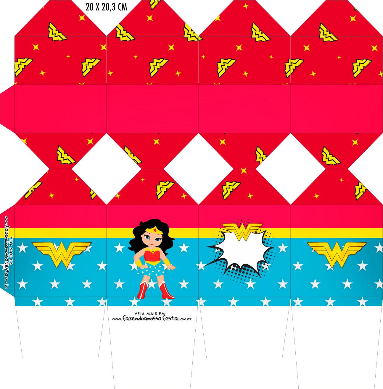 Caixa Meia Bala Festa Mulher Maravilha cute