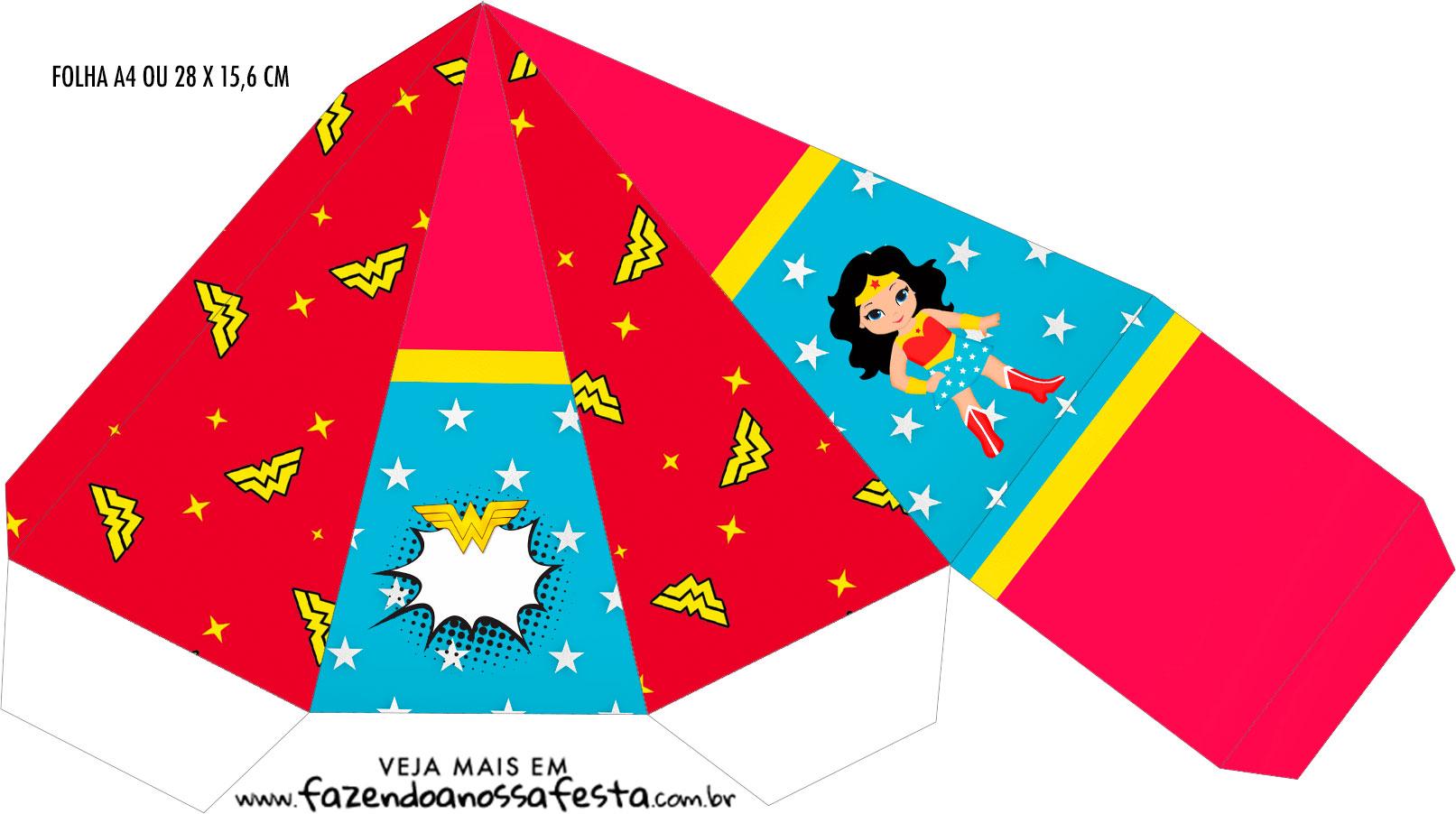 Caixa Piramide Festa Mulher Maravilha cute