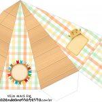 Caixa Piramide Kit Festa Junina Tons Pasteis