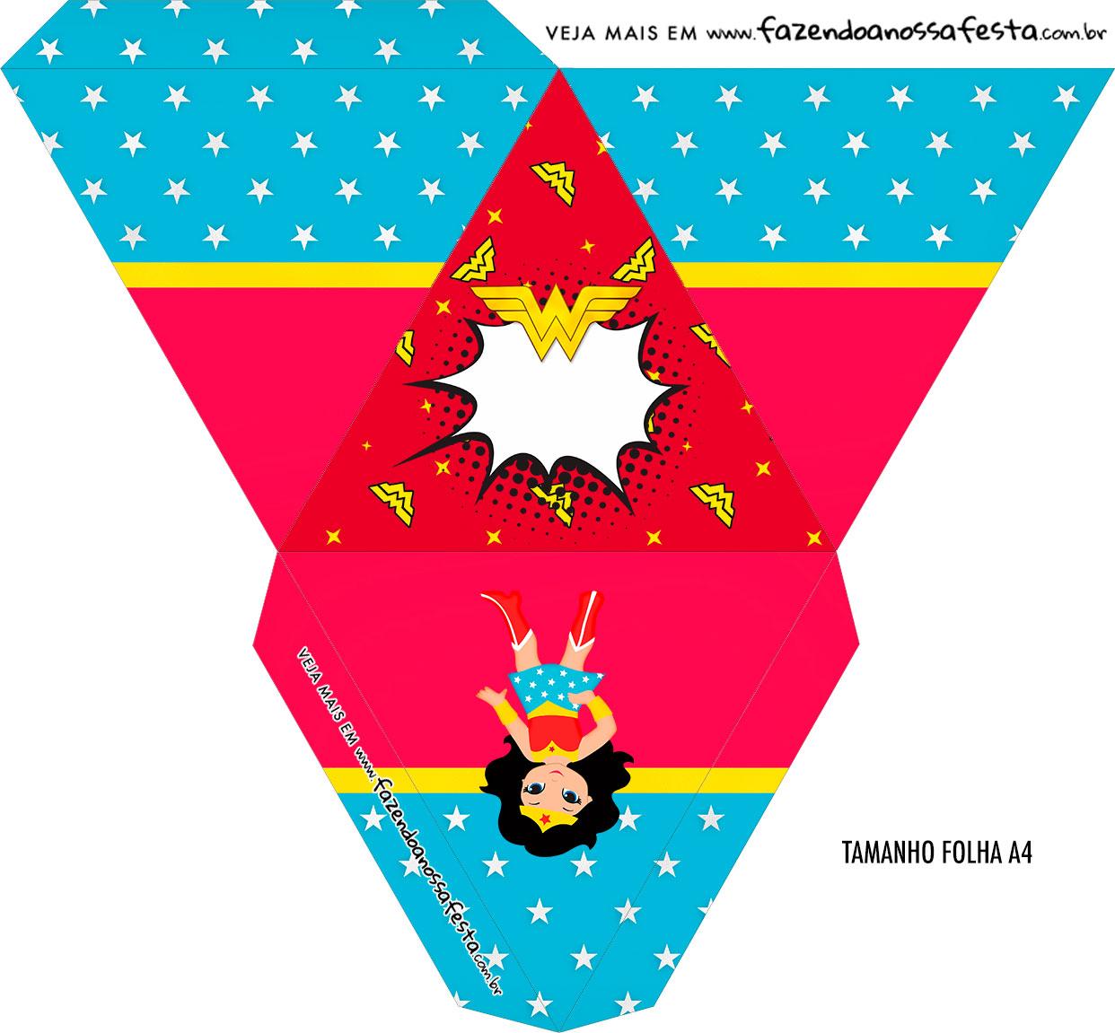 Caixa Piramide Personalizada Festa Mulher Maravilha cute