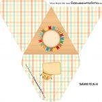 Caixa Piramide Personalizada Kit Festa Junina Tons Pasteis