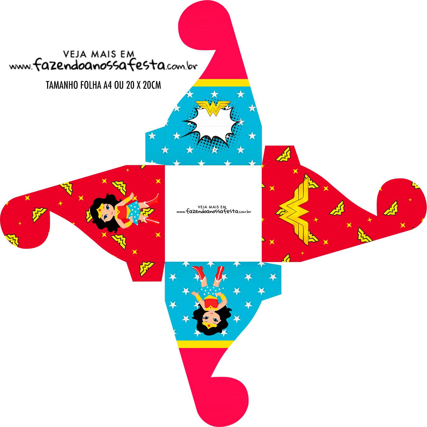 Caixa bombom personalizada Festa Mulher Maravilha cute