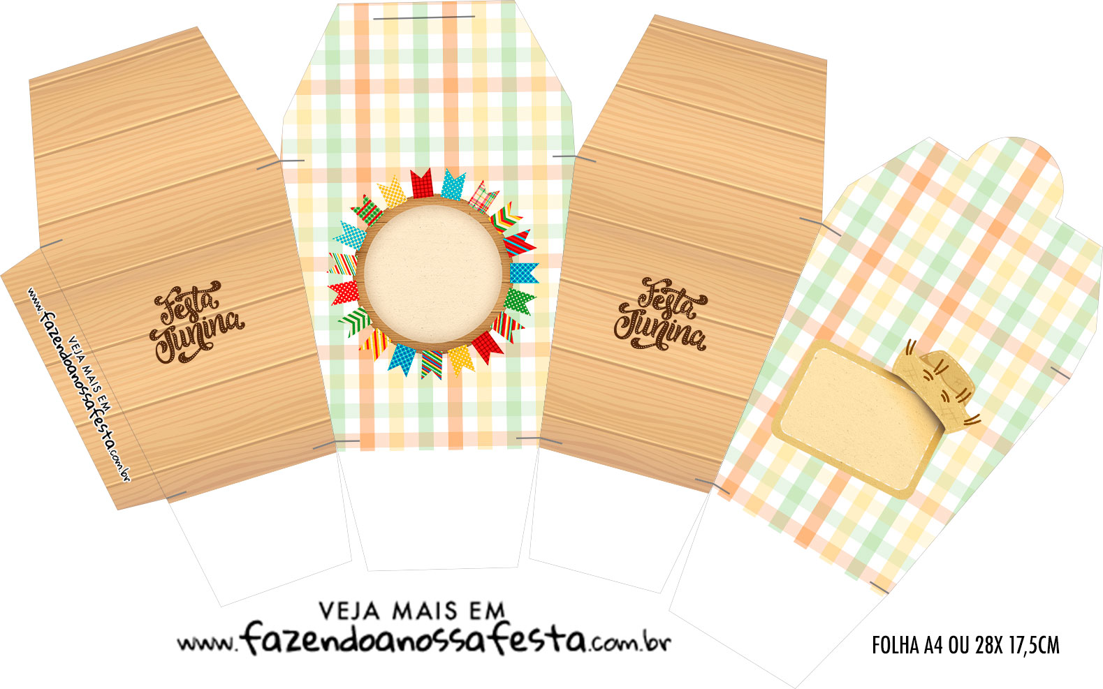 Caixinha China in Box Kit Festa Junina Tons Pasteis