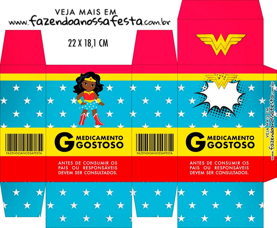 Caixinha de Remedio Personalizada Festa Mulher Maravilha Afro Cute