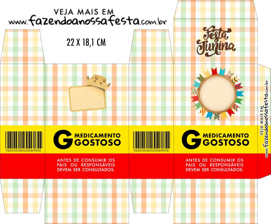 Caixinha de Remedio Personalizada Kit Festa Junina Tons Pasteis