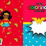 Capa Livrinho para Colorir Festa Mulher Maravilha Afro Cute