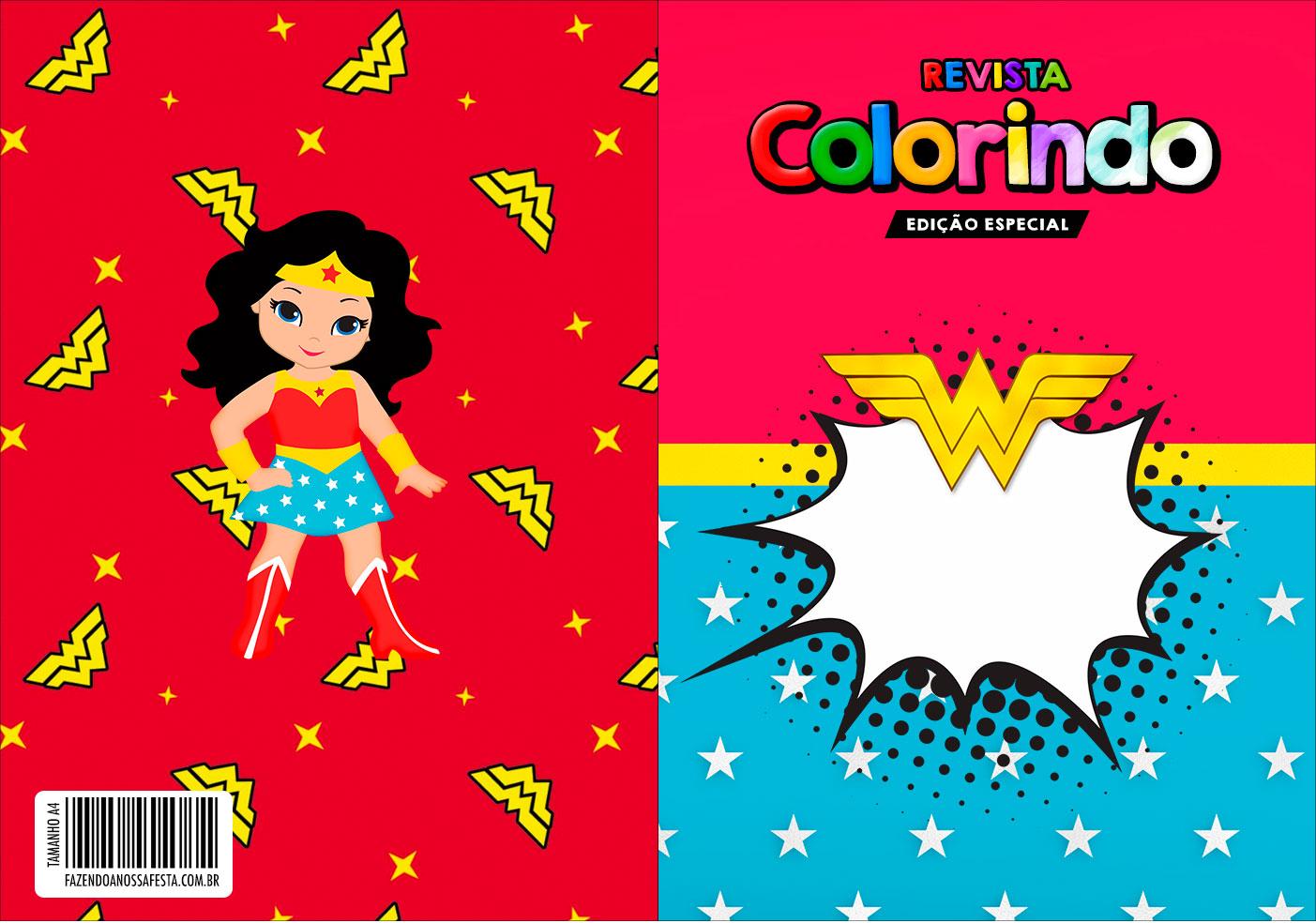 Capa Livrinho para Colorir Festa Mulher Maravilha cute