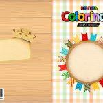 Capa Livrinho para Colorir Kit Festa Junina Tons Pasteis