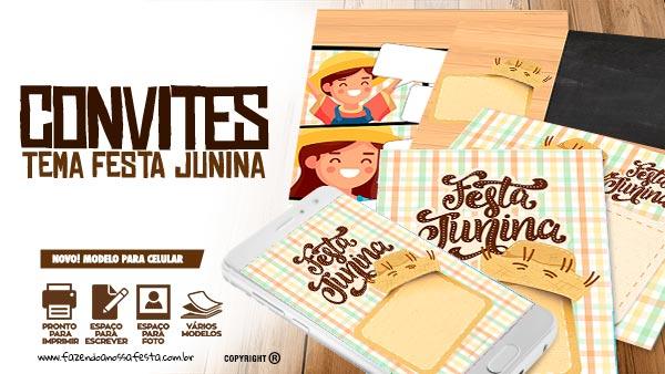 Convite Festa Junina Xadrez Tons Pasteis