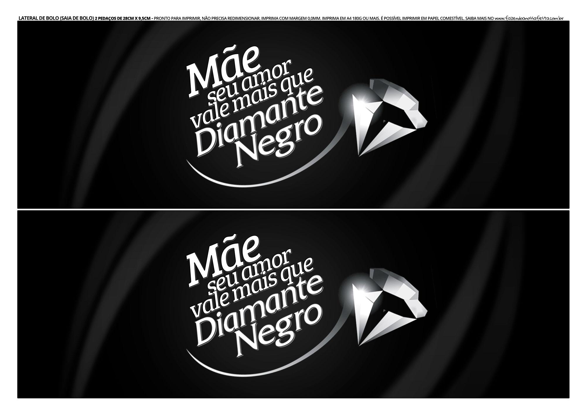 Faixa Lateral para Bolo Dia das Maes Diamante Negro
