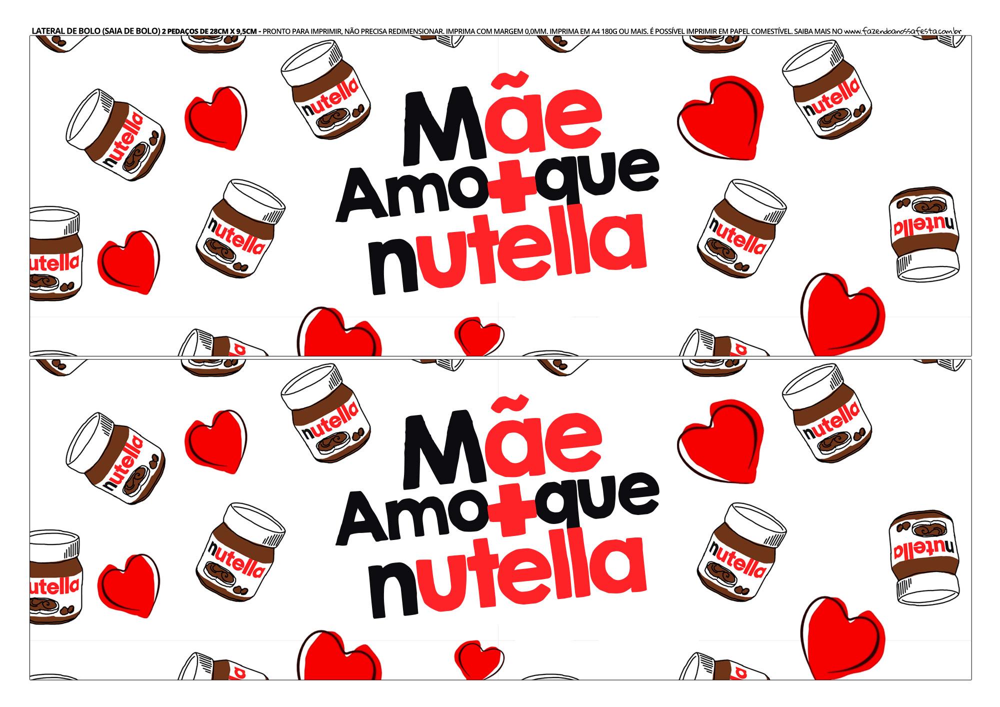 Faixa Lateral para Bolo Dia das Maes Nutella