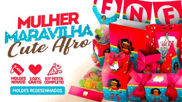 Kit Festa Mulher Maravilha Afro Cute para imprimir