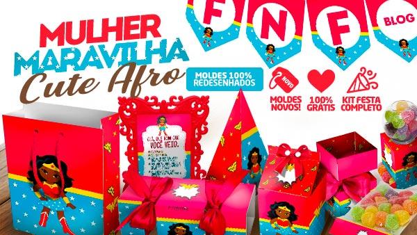 Kit Festa Mulher Maravilha Afro Cute