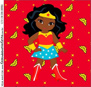 Molde Caixa Acrilica Festa Mulher Maravilha Afro Cute