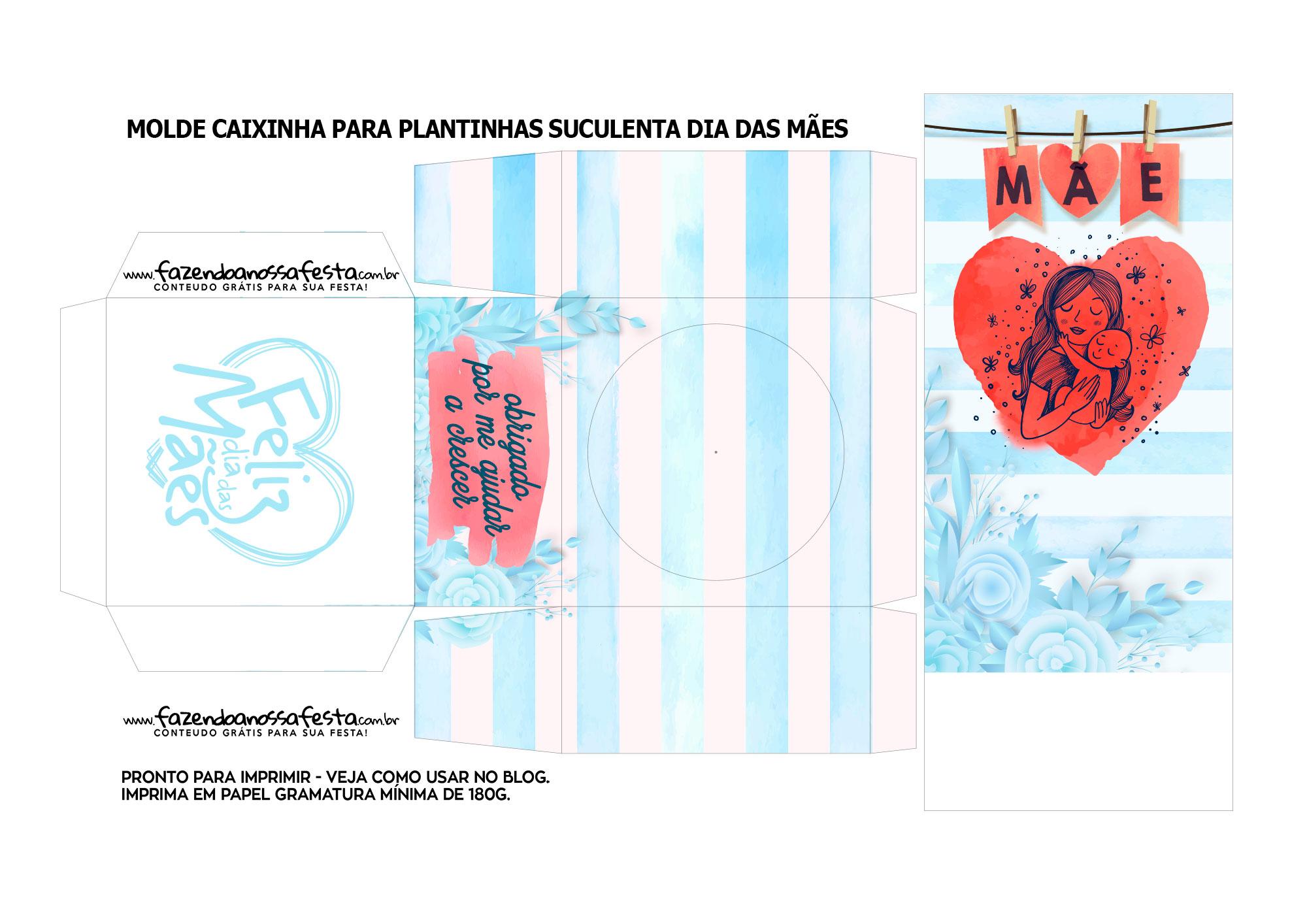 Molde caixinhas de suculentas para imprimir mae rosas