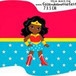 Topper Bandeirinha Kit Festa Mulher Maravilha Afro Cute