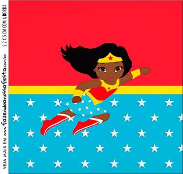 caixa de acrilico adesivo personalizado Festa Mulher Maravilha Afro Cute