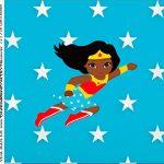 rotulo adesivo caixa de acrilico Festa Mulher Maravilha Afro Cute