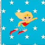 rotulo adesivo caixa de acrilico Festa Mulher Maravilha Loira
