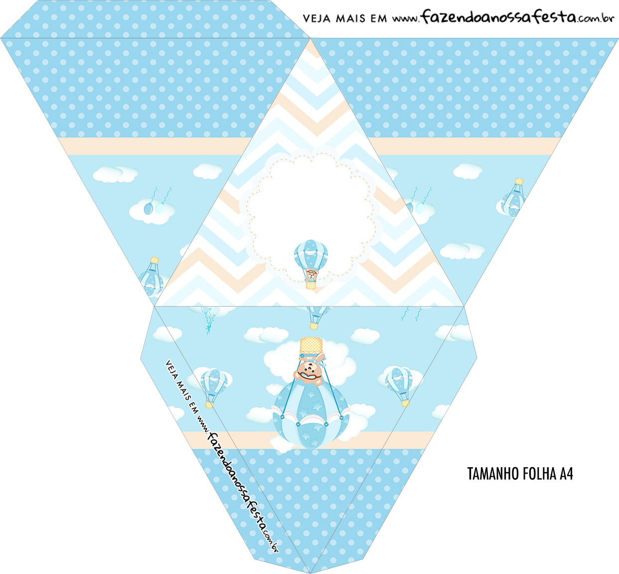 Caixa Piramide Personalizada Ursinho Baloeiro