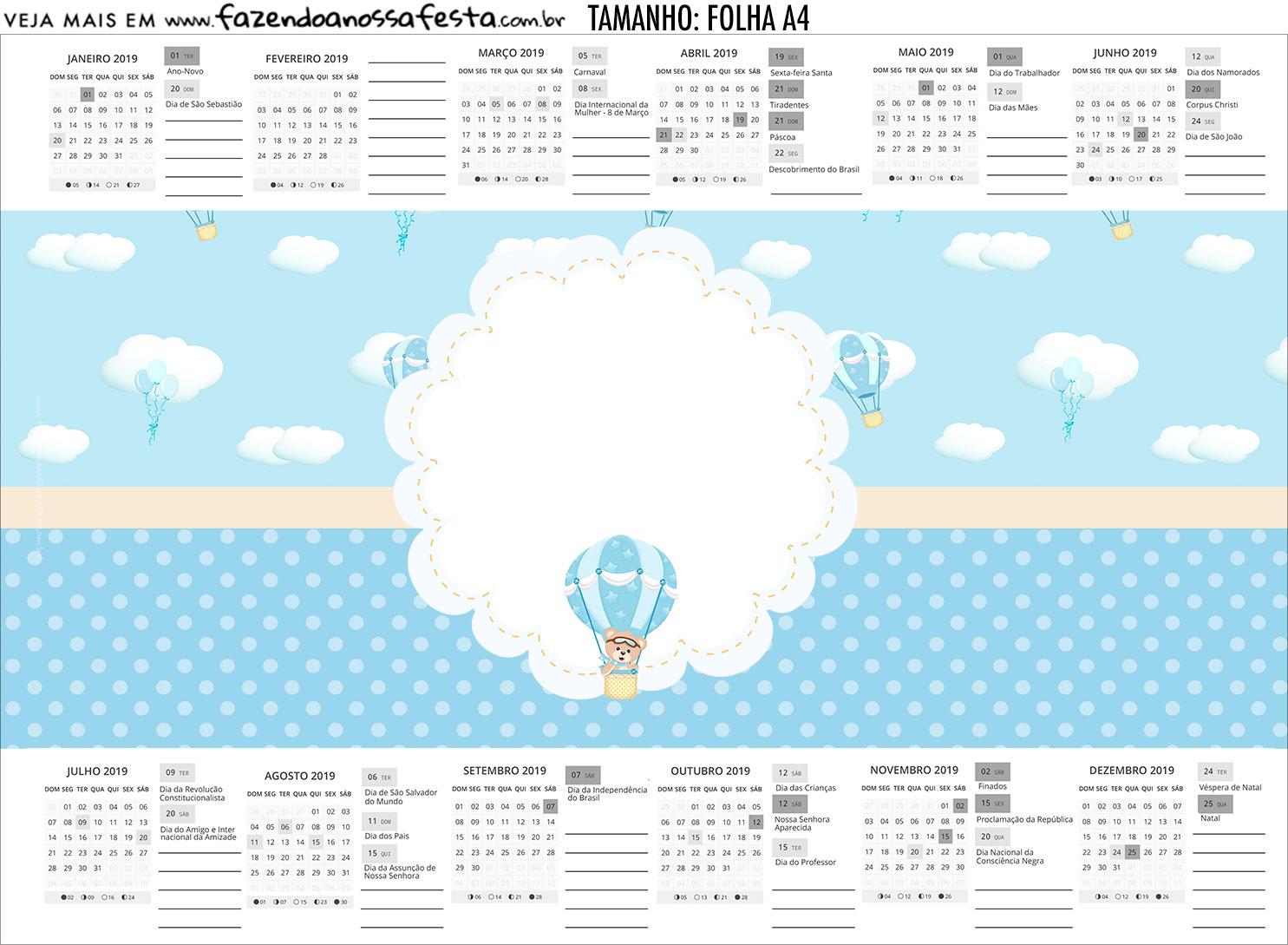 Calendario Personalizado 2019 Ursinho Baloeiro